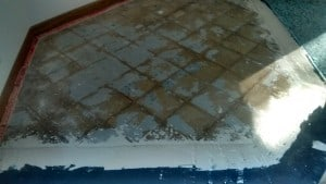 picture of underlay for tiles around ex-fireplace