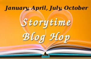 Storytime Blog Hop Logo A blue, hardcover book, open on an orange background. The top pages are arranged in the shape of a heart. The caption reads January, April, July, October in black, and StoryTime Blog Hop in white.