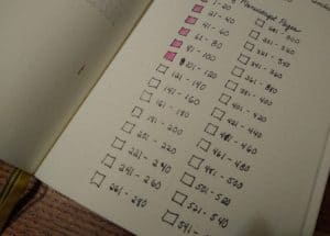 A revision checklist, showing my novel broken into 20 page increments.