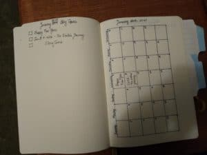 Two page spread for blog posts. The lefthand side shows a checklist of topics. The right hand is a calendar showing the day that posts on those topics were actually posted.