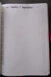"""Blank page, calendar dates up the lefthand side, titled """"Rest, Relaxation, and Regeneration"""""""
